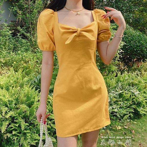 OM潮人館少女減齡露鎖骨方領宮廷蝴蝶結鵝黃色洋裝女顯白小洋裝 米娜小鋪