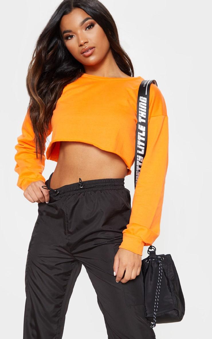 Hot Orange Cut Off Crop Longsleeve Sweater