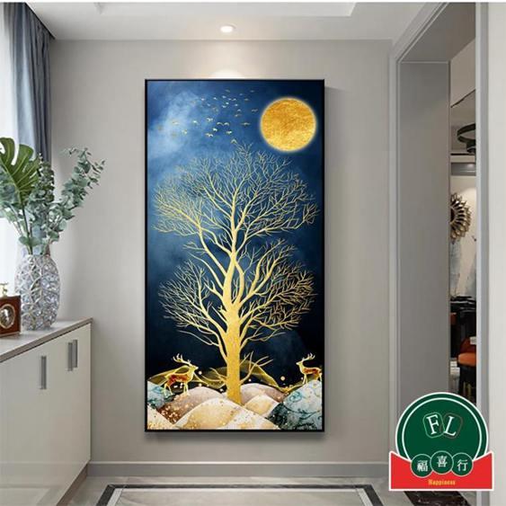 玄關招財掛畫裝飾畫北歐福祿入戶樓梯間客廳背景壁畫