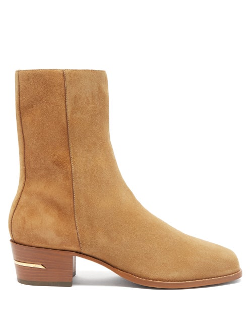 Amiri - Square-toe Suede Ankle Boots - Mens - Brown