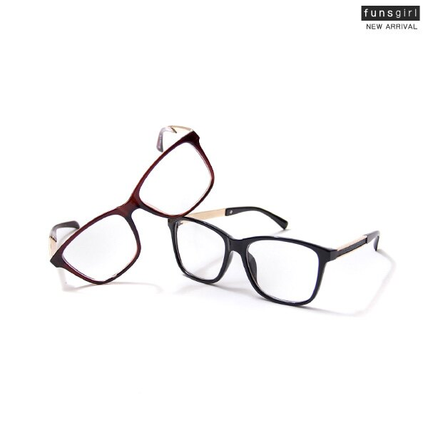 復古粗框金屬邊平光眼鏡~funsgirl芳子時尚【B210103】