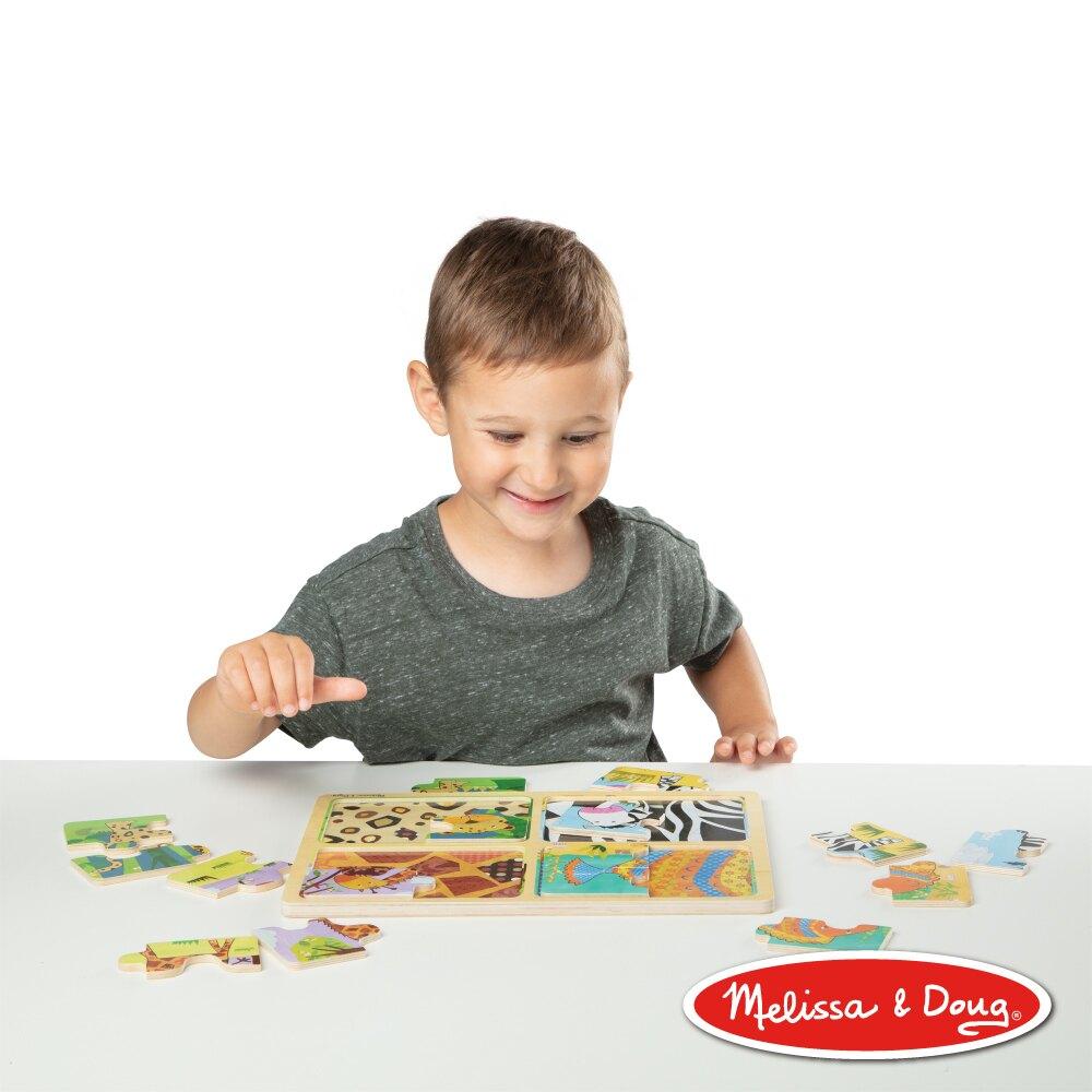 美國 瑪莉莎 Melissa & Doug Natural Play 4 合 1 啟蒙拼圖提盒組-動物園【母親節推薦】