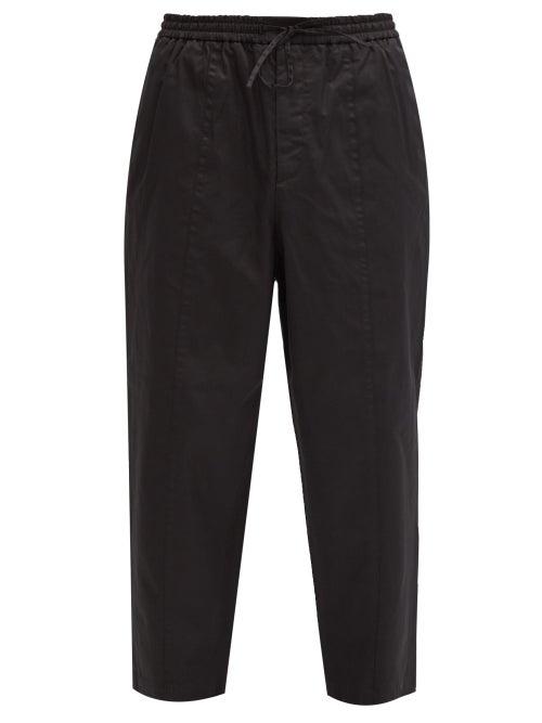 Jil Sander - Drawstring-waist Cropped Cotton-poplin Trousers - Mens - Black