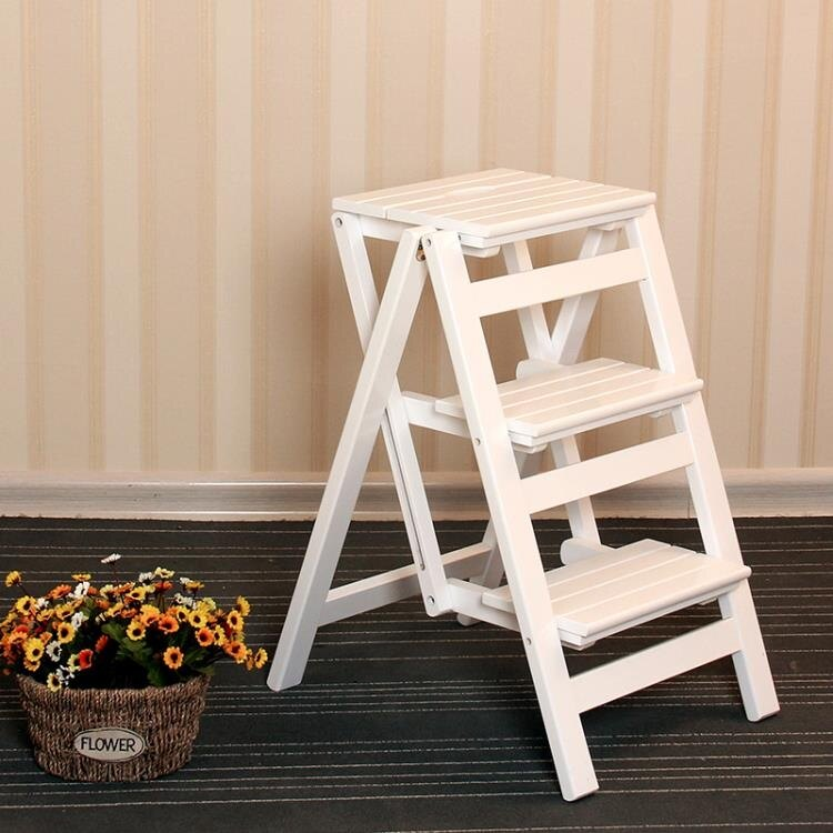 實木家用梯子多功能折疊梯室內登高三步人字梯加厚兩用梯凳樓梯椅 秋冬新品特惠