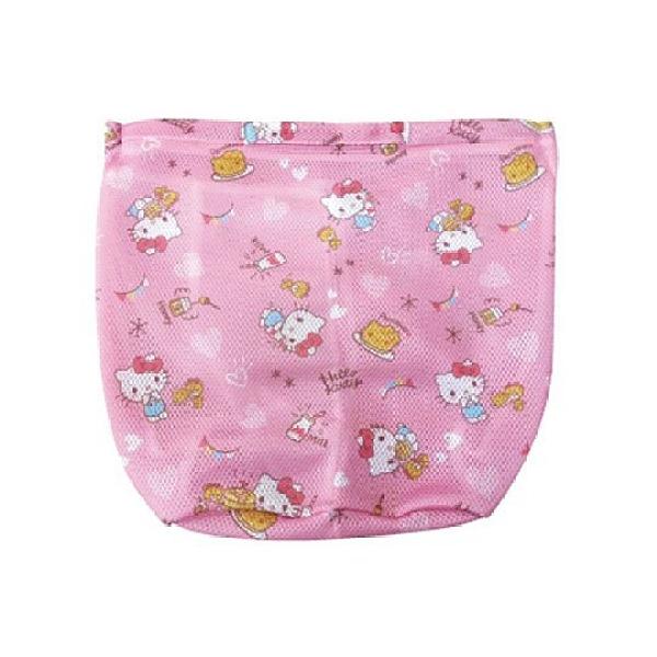 小禮堂 Hello Kitty 圓筒型手提網狀洗衣袋 洗衣網袋 護洗袋 手提網袋 (粉 滿版) 4990270-12825
