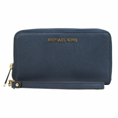 Michael Kors JET SET TRAVEL防刮可拆式手提長夾(深藍)