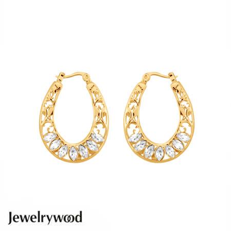 Jewelrywood 復古巴洛克水晶耳環(金)