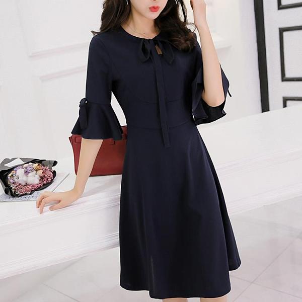 中袖洋裝春夏大碼針織正韓中袖洋裝時尚顯瘦純色打底裙女-Milano米蘭