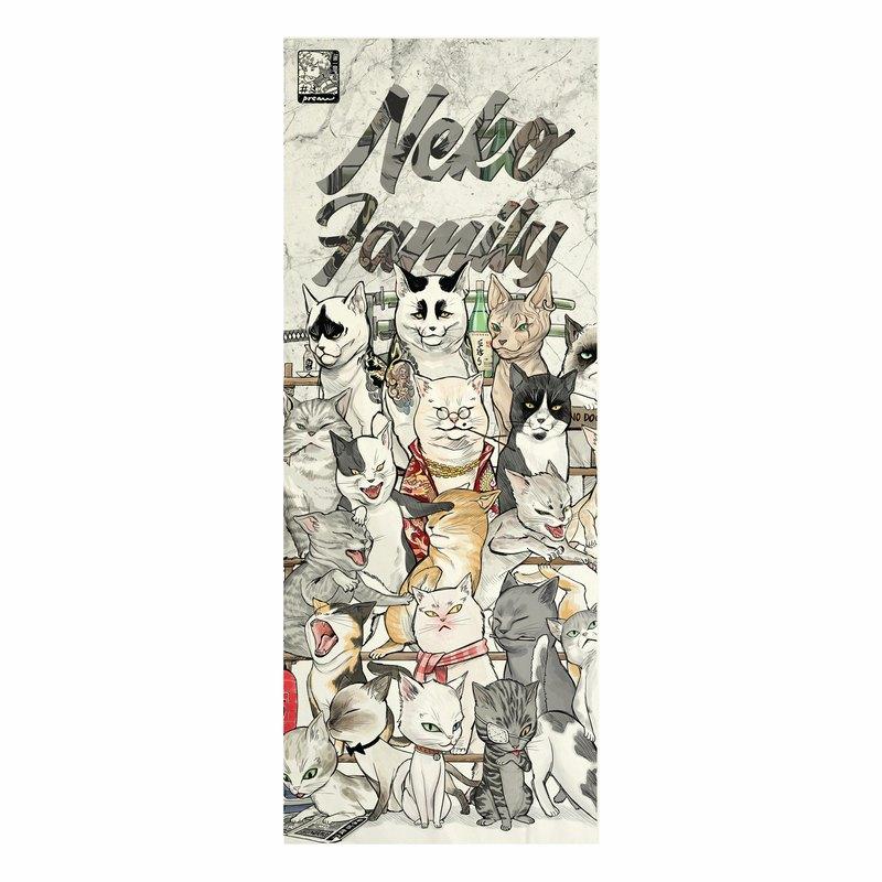 日式帆布面料,貓咪貓家族印花,無框