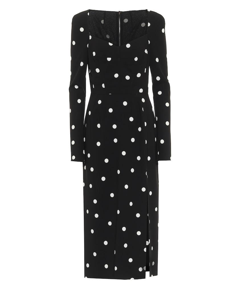 Polka-dot cady midi dress