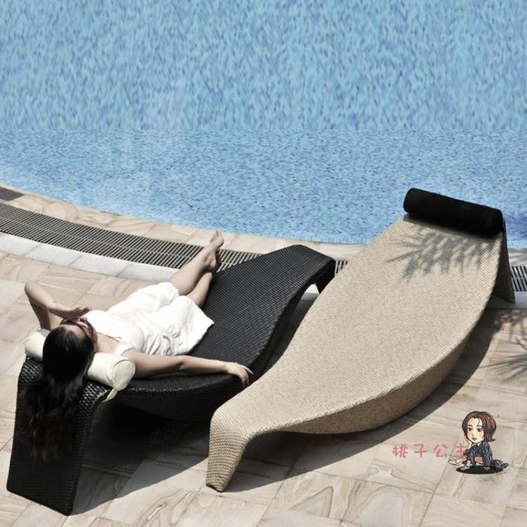 戶外躺床 泳池創意編藤葉子游泳館休閒酒店會所別墅室外藤編 躺椅