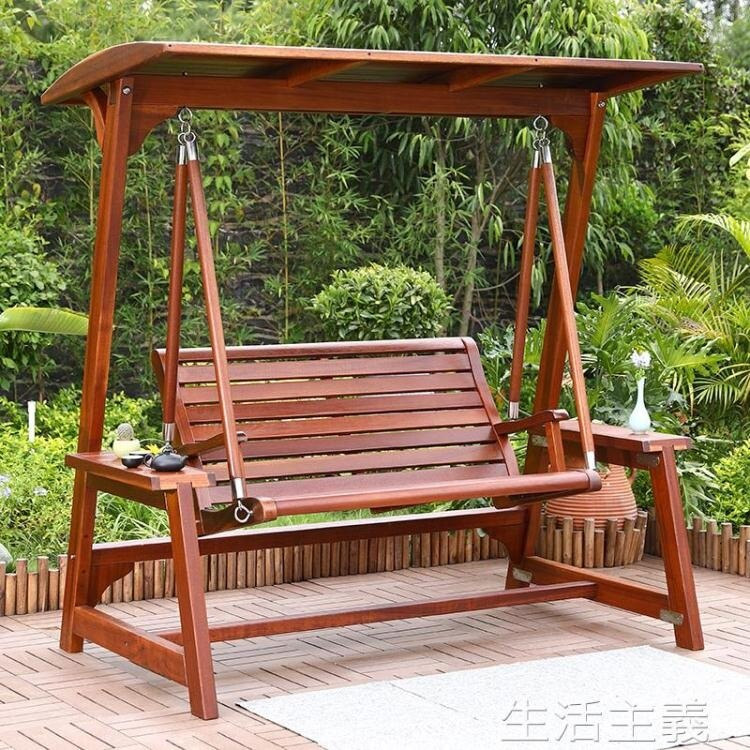 吊椅 秋千庭院菠蘿格實木戶外花園吊椅室外防腐木休閒吊床陽台家用搖椅