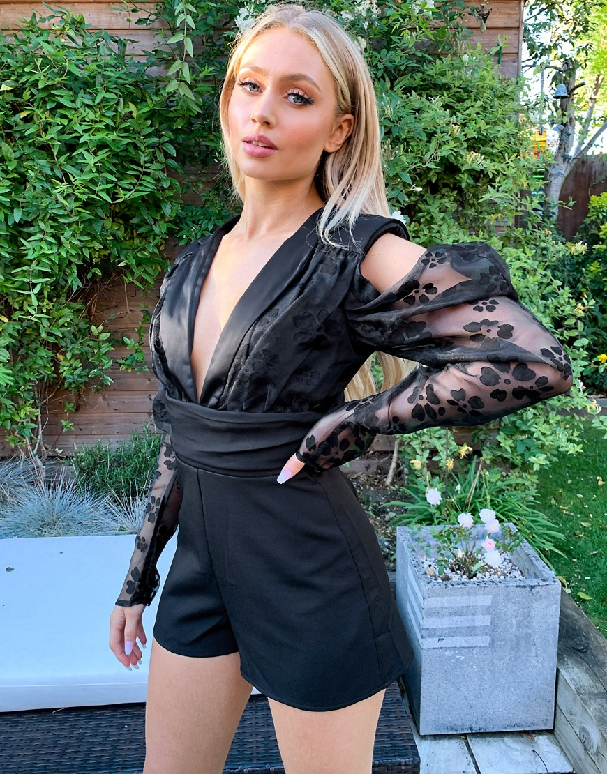 Lashes Of London plunge front cold shoulder playsuit with organza balloon sleeve in black