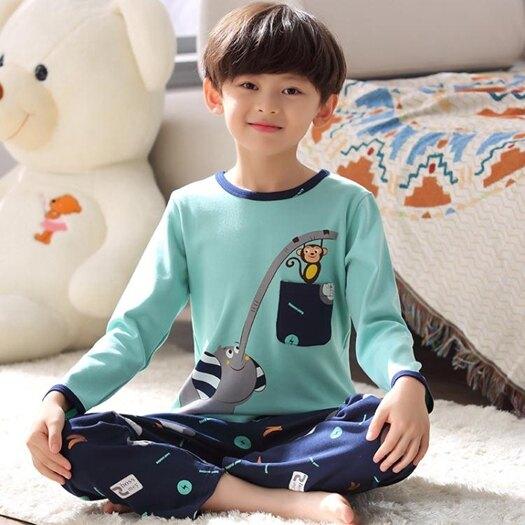 男童睡衣春秋季長袖純棉兒童睡衣男孩夏寶寶薄款中大童家居服套裝 618年中鉅惠