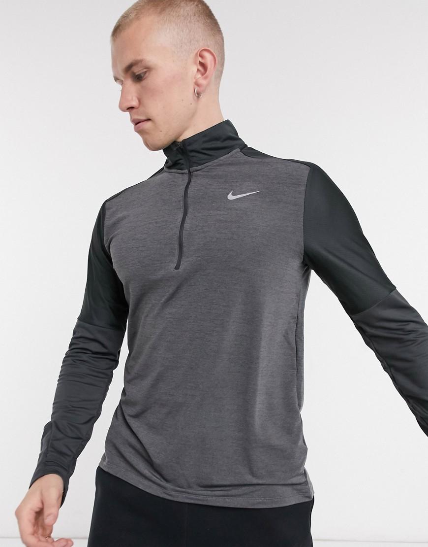 Nike Running Essentials Dri-FIT element half zip top in charcoal/black-Grey