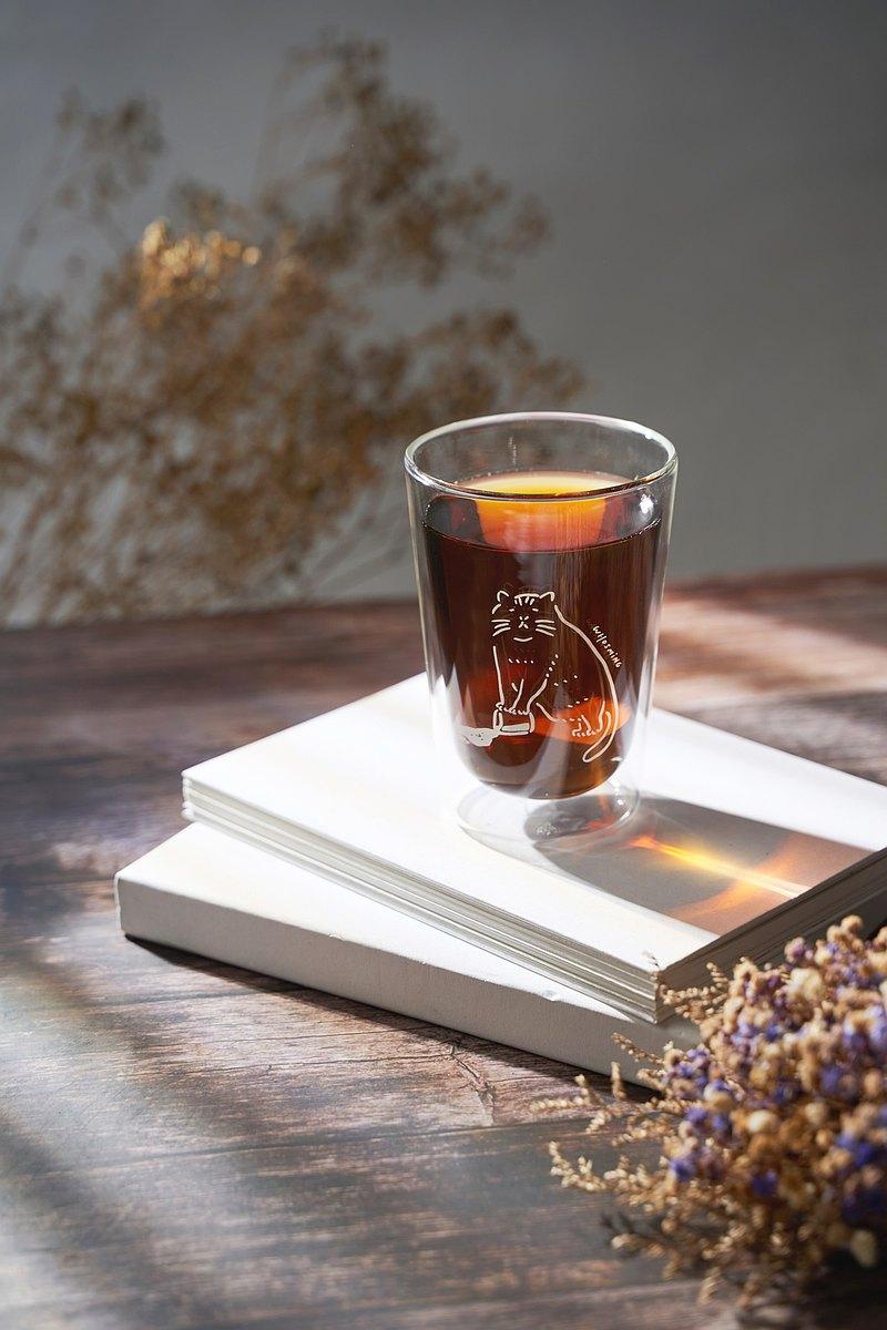 FUSHIMA x WHOSMiNG 聯名款雙層玻璃杯380ml(喵大人)
