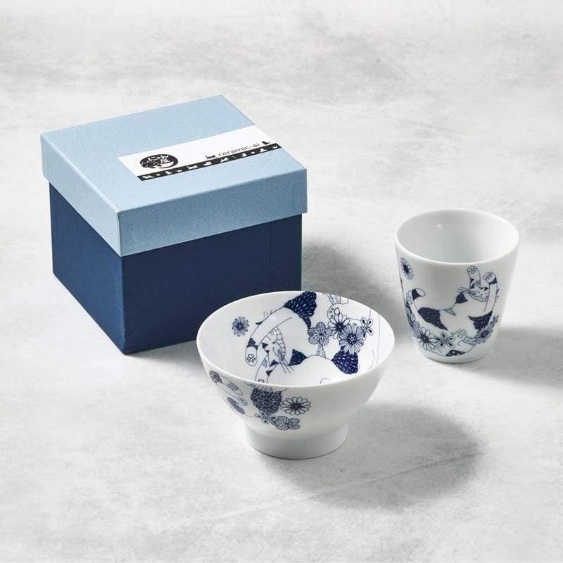 日本美濃燒-花園藍貓杯碗組-禮盒組(2件式)