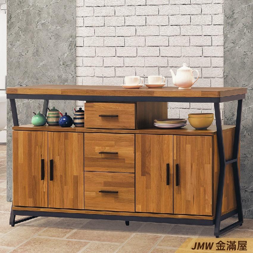 150cm 北歐餐櫃收納 實木電器櫃 廚房櫃 餐櫥櫃 碗盤架 中島大理石金滿屋尺餐櫃-g838-