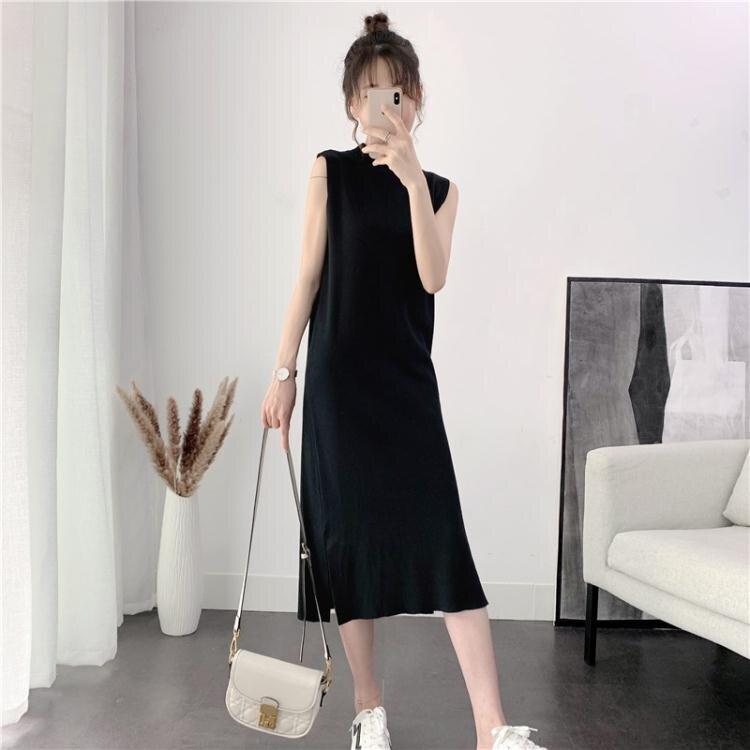 無袖洋裝 港風春裝新款無袖針織背心裙女長款過膝小黑裙開叉打底洋裝 夏洛特居家名品