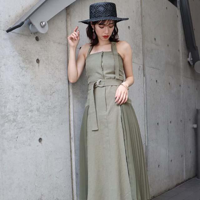MURUA - 側百摺腰帶長洋裝