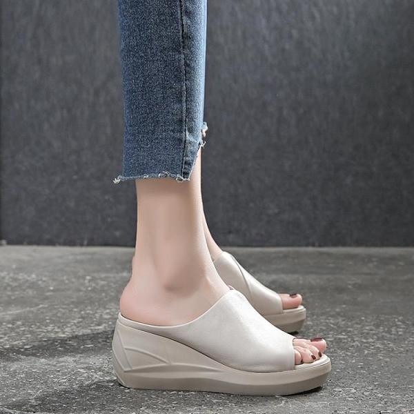 魚口鞋 厚底坡跟涼拖鞋女外穿2020年夏季新款真皮時尚魚嘴高跟鞋松糕女鞋 萬聖節狂歡