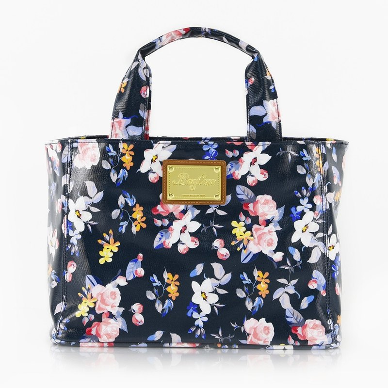 法蘭玫瑰防水磁釦提袋-粉藍