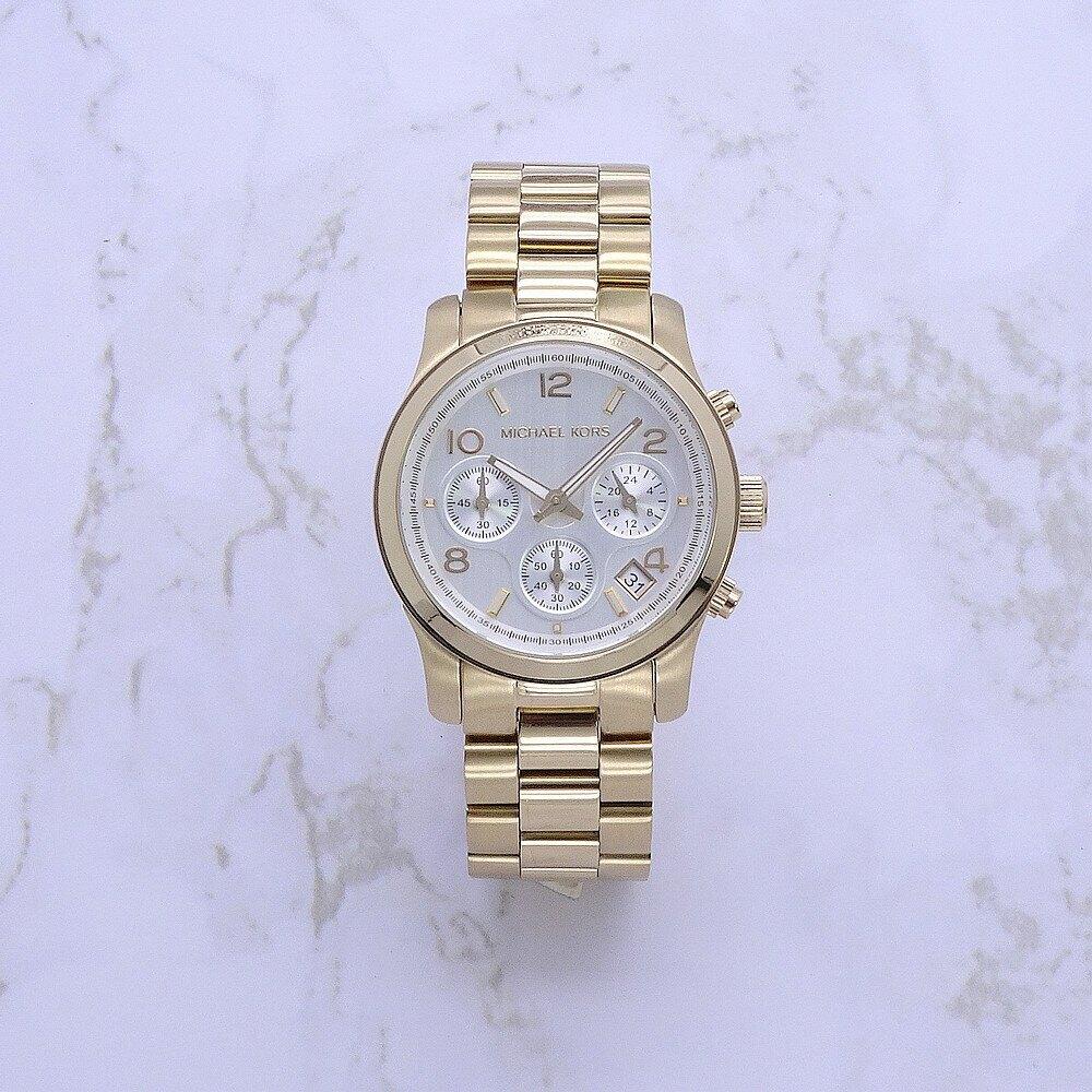母親節♥全品項5折up↘再折300|Michael Kors 自由城市美式風格計時腕錶-金色鋼帶-MK5305