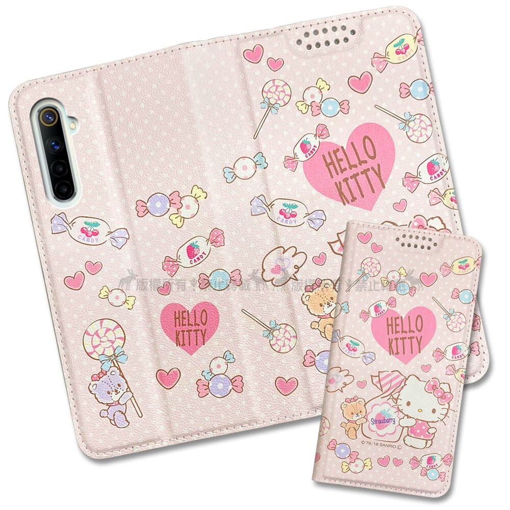 三麗鷗授權 Hello Kitty貓 realme 6 粉嫩系列彩繪磁力皮套(軟糖)