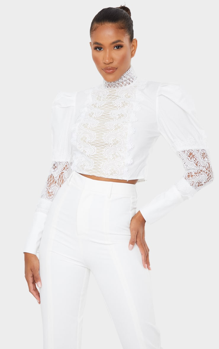 White Woven Lace Panel Puff Sleeve Cropped Blouse