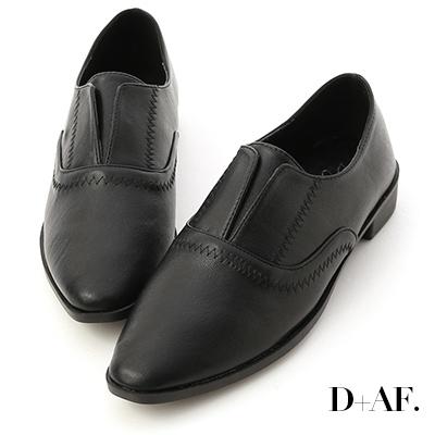 D+AF 英式風格.拷克車線無綁帶牛津鞋*黑
