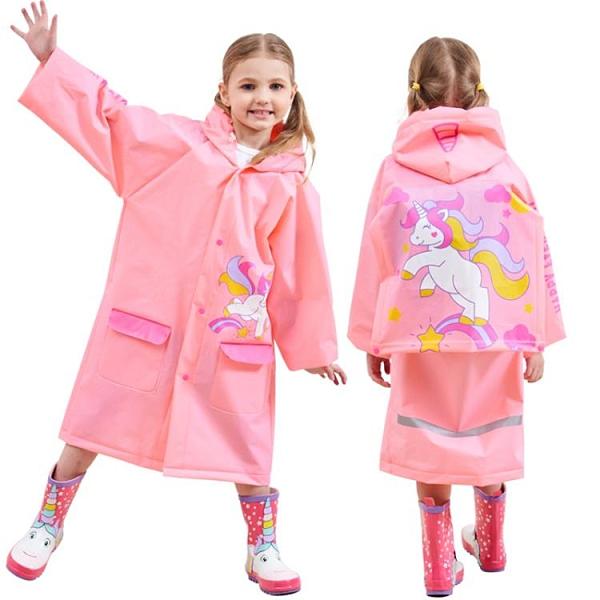 兒童雨衣男女童寶寶雨披帶書包位充氣帽檐環保無味【探索者】