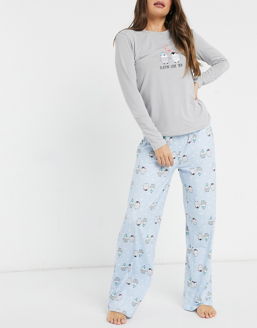 Loungeable flippin love you super soft pyjama set in grey and pale blue