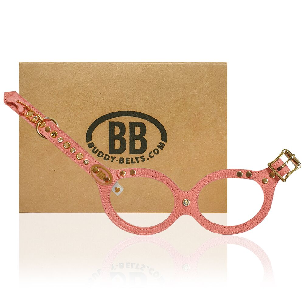 【Buddy Belts】加拿大手工真皮胸背帶-珊瑚粉紅-3.5號(水鑽款)