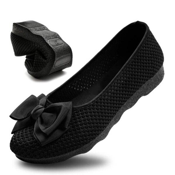現貨快出 老北京布鞋女網鞋單鞋透氣飛織豆豆鞋黑色蝴蝶結軟底平跟工作鞋 新年禮物