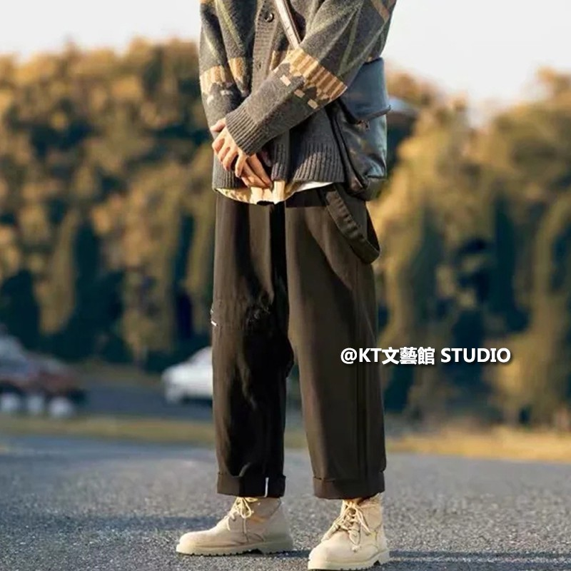 M-2XL 纯棉 飄帶直筒工裝牛仔褲褲男 丹寧長褲男士 潮男必備 寬鬆垂感老爹褲 闊腿褲 直筒休閒褲