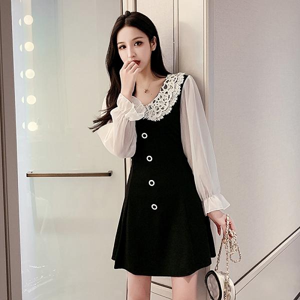 VK精品服飾 韓國風名媛蕾絲娃娃領撞色網紗袖拼接長袖洋裝