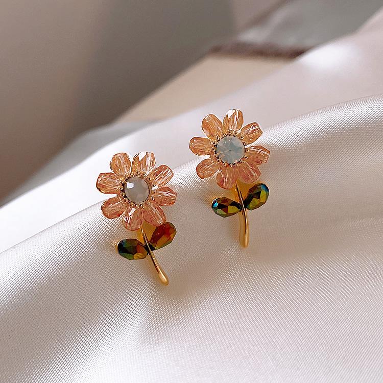 水晶花朵耳環【DDFI】簡約 甜美 少女 精緻 夏季 日常百搭 韓國新款耳釘 H4C11