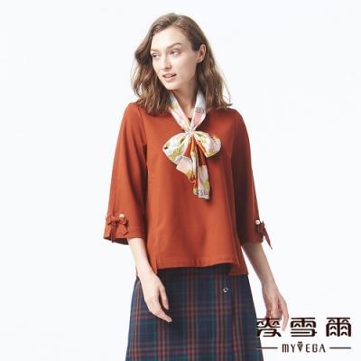 麥雪爾 棉質寬版珍珠七分袖上衣-咖啡