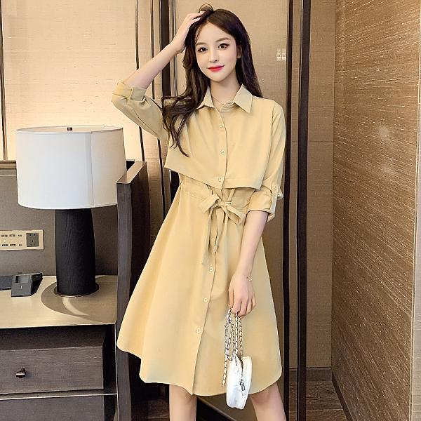 VK精品服飾 韓系時尚氣質假兩件收腰單排釦優雅長袖洋裝