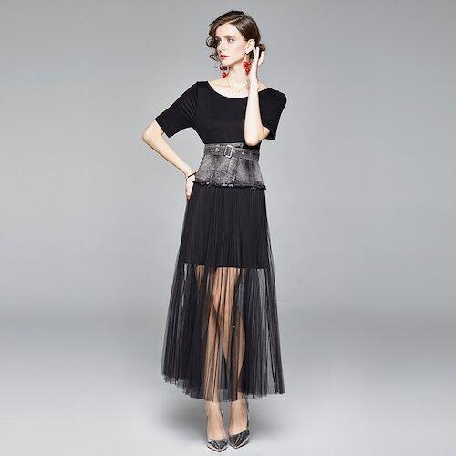 Olivia奧莉 歐美風格大裙襬灰色寬版腰封圓領小禮服M~2XL
