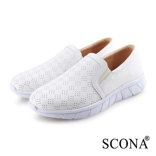 SCONA 蘇格南 全真皮 輕量舒適幾何休閒鞋 白色 7321-2