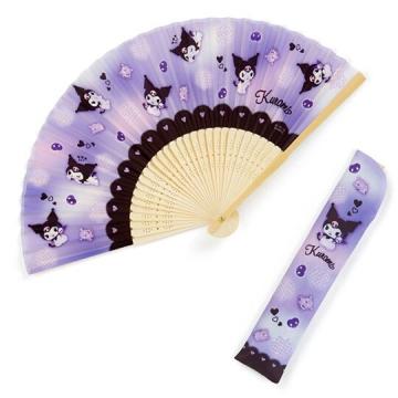 小禮堂 酷洛米 半圓竹扇附扇套 折扇 手拿扇 (紫 愛心)