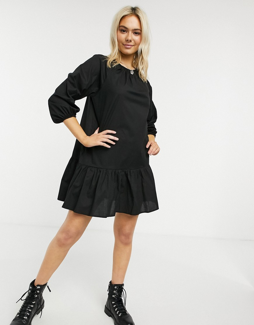 ASOS DESIGN cotton poplin mini smock dress with pephem in black