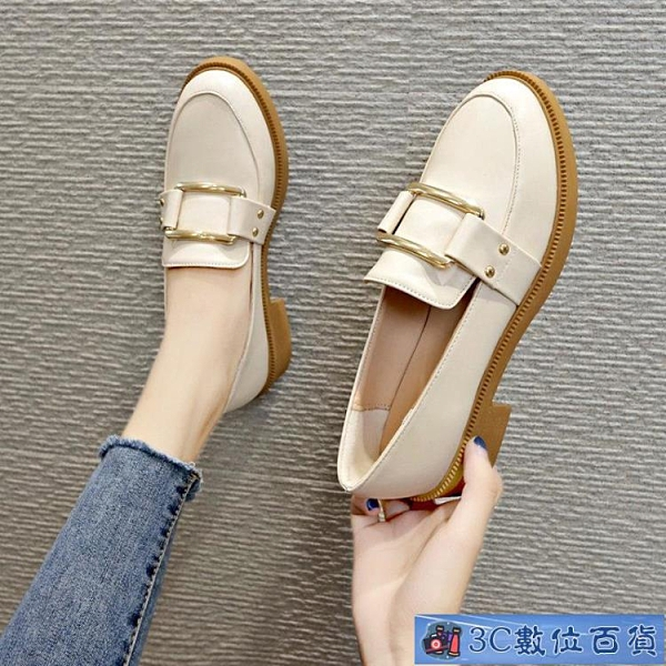 小皮鞋女秋季百搭平底秋鞋英倫單鞋2021春款潮鞋新款一腳蹬樂福鞋 3C數位百貨