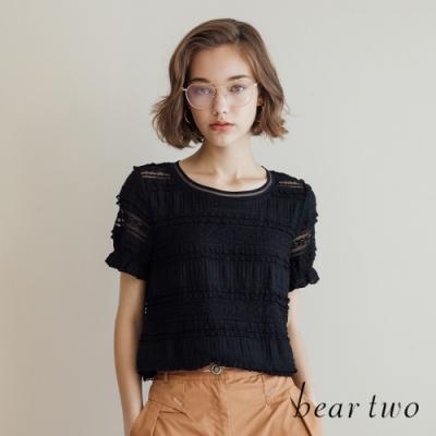 beartwo-法式鏤空雕花蕾絲上衣-黑色