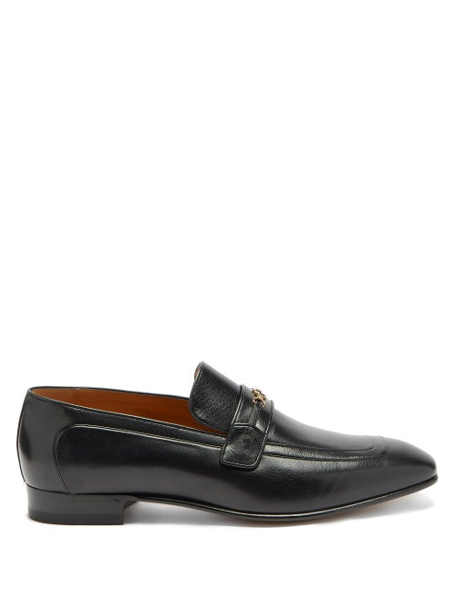 Gucci - Dramca Gg Grained-leather Loafers - Mens - Black