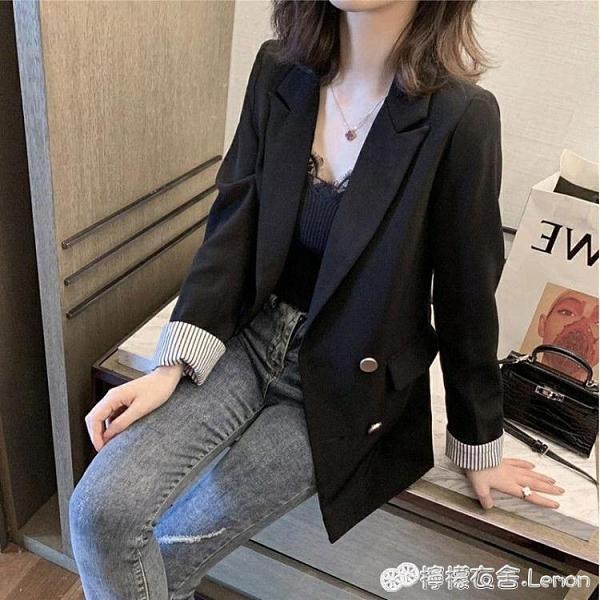 新款春秋休閒西裝外套女韓版寬鬆薄款網紅氣質黑色小西服套裝 檸檬衣舍