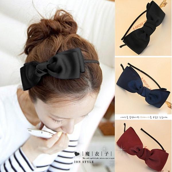 【Q60A60】魔衣子-百搭氣質緞帶大蝴蝶結髮箍