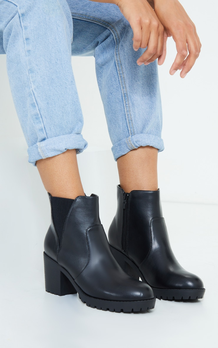 Black Basic PU Cleated Sole Heeled Ankle Boots