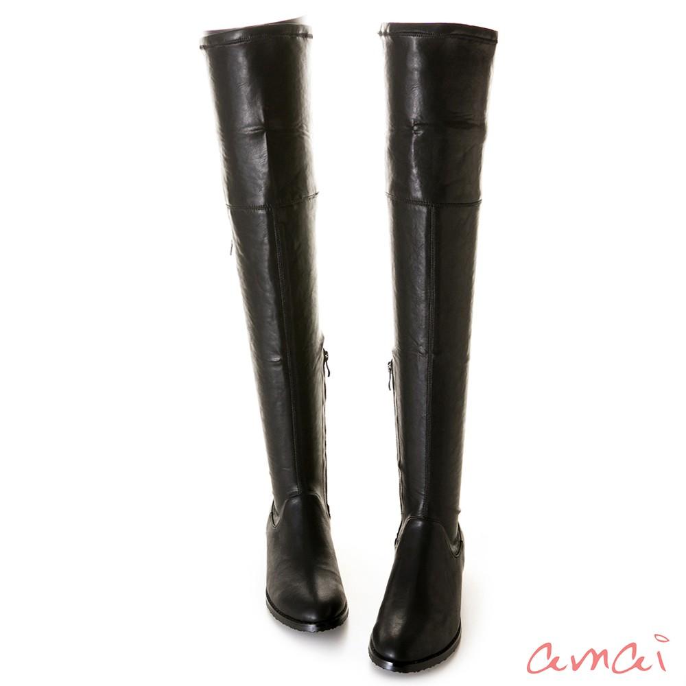 amai 《超激瘦》貼腿後綁帶低跟過膝靴 皮革黑 SP6-20BK